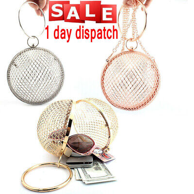 UK✔ Women Hollow Metal CrossBody Clutch Cage Bag Evening Wedding Bag Ball Shaped
