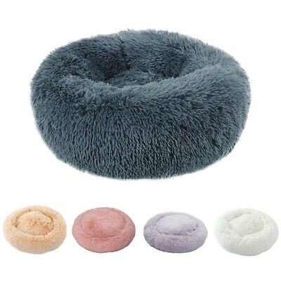 UK Comfy Calming Dog/Cat Marshmallow Bed Round Super Soft Plush Pet Bed Cat Bed