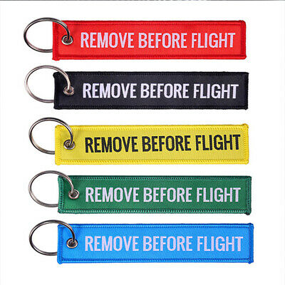 Embroidered Remove Before Flight Canvas Luggage Tag Label Key Chain Keyring Gift