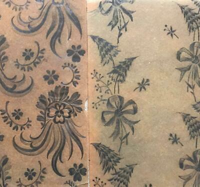2 BEAUTIFUL MID 19th CENTURY ANTIQUE HAND DRAWN FRENCH SILK RIBBON DESIGNS 2.