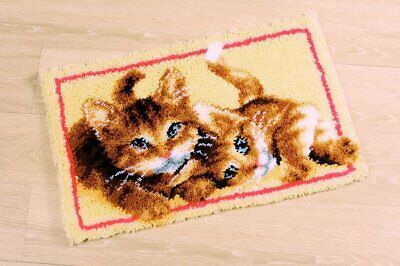 Adorable Kittens Latch Hook Kit  Rug Making Kit 70x45cm Vervaco Printed Canvas