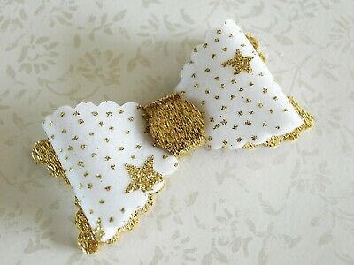 SALE - Girls Gold White Hair Clip - Sparkly Glitter Hair Bow HANDMADE Hair Bow