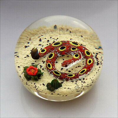 Perthshire LE 1997G Rattlesnake glass paperweight + label / presse papiers