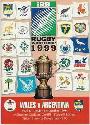 WALES v ARGENTINA 1st OCTOBER 1999 RUGBY WORLD CUP PROGRAMME - OPENING MATCH