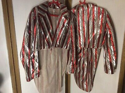 2 silver/red striped ringmasters circus jackets with coatails dancing theatre et