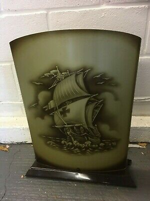 Vintage Retro Worcester Ware Brown Metal Fire Screen Ship Picture