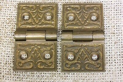 "2 old Hinges decorated door interior shutter 1 1/4 x 2 1/8"" 1880 vintage bronze"