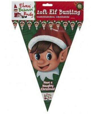 Elves Behavin Badly Christmas Party Elf Flag Bunting Green & Red 30cm Flags 20FT