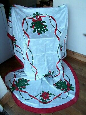 Large Oval White Damask Christmas Tablecloth With Red Poinsettia & Holly Leaves