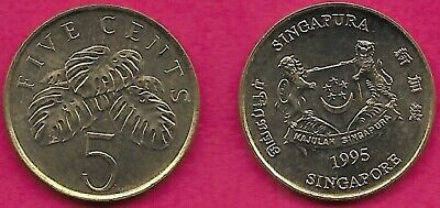 Singapore 5 Cents 1995 Unc Fruit Salad Plant,Motto Ribbon On Arms Curves Down At