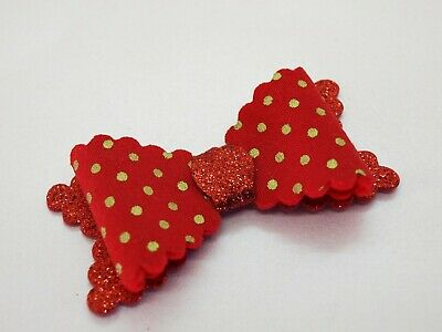 SALE - Girls Red Gold Hair Bow - Christmas Glitter Hair Bows HANDMADE Hair Clips
