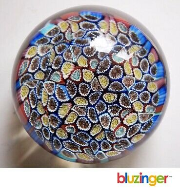 Vintage Multi Color Millefiori Close Packed Canes Art Glass Paperweight