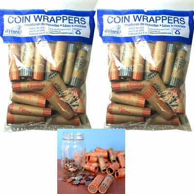 Rolls Preformed Assorted Coin Wrappers Tubes Nickels Quarters Dimes Pennies