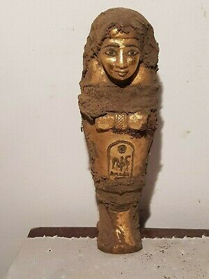 Rare Antique Ancient Egyptian Ushabti Servant minions Water Gold1840-1760BC