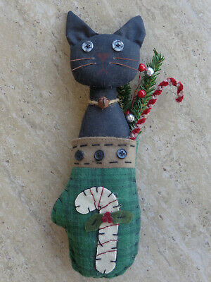 Handmade Kitty Cat Doll Black Candy Cane Mitten Primitive Country Holiday