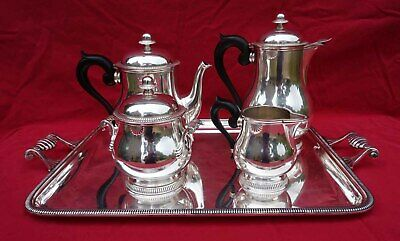 ERCUIS French Silverplate Tea Coffee Set 5 Pcs Shell Louis XV Model