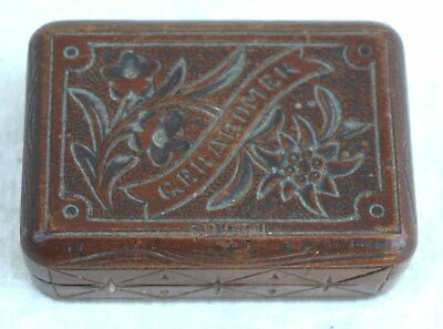 German Black Forest Stamp Holder Case Box Carved Wood Gerardmer Souvenir 1910