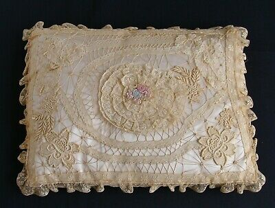 Antique Mixed Lace Silk Ribbon Work Appliques Pillow Cover + Silk Satin Pillow
