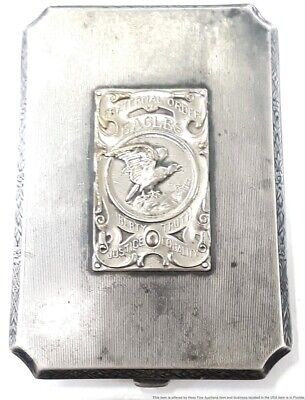 Antique Sterling Silver Fraternal Order Eagles Cigarette Case 118g 4 1/2inx3in