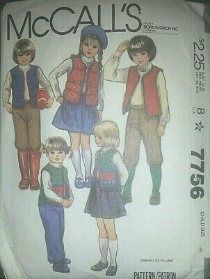 Sewing Pattern**Childs/Boys/Girls Gilet*Trousers*Skirt*Knickerst**Age 4 Years