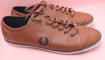 Men's FRED PERRY Brown Genuine Leather Lace-Up Trainers Shoes Size UK 12 - S19