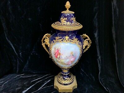 "19thC Sevres ormolu mounted hand painted porcelain 3 pc urn signed 16"" PERFECT"