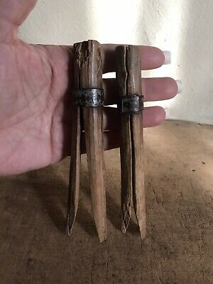 2 BIG OLD Antique Hand Carved Wooden Treen Clothespins Tin Banded Patina AAFA