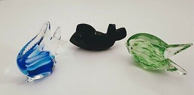 Lot of 3 Art Glass Hand blown Fish and carved soapstone figurines