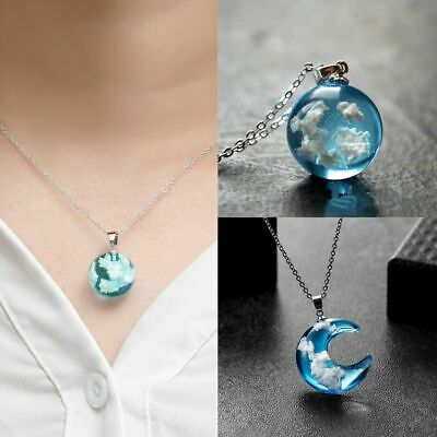 Transparent White cloud Sky Moon Ball Pendant Necklace Women Chain Jewelry Gifts