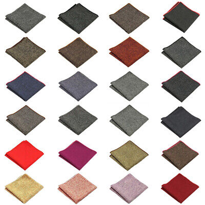 Men Solid Color Wool Cotton Pocket Square Wedding Party Handkerchief Hanky FT12