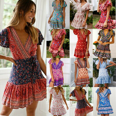 Women Short Sleeve Wrap Boho Floral Mini Dress Ladies Summer Sundress Holiday
