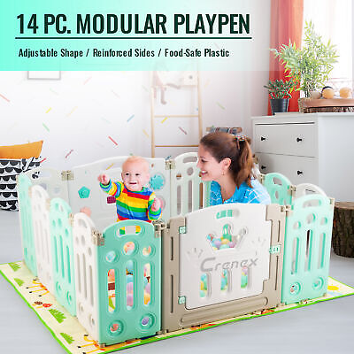 14 Panel Baby Playpen with Door Plastic Foldable Kids Safety Play Yard