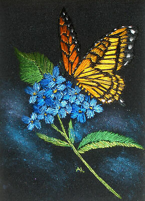 """ACEO Original """"Hydrangea and Monarch Butterfly"""" Silk Hand Embroidery - A Lobban"""