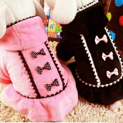 Pet Dog Hoodie Coat Jacket Winter Puppy Hooded Bowknot Fleece Sweater Clothes US