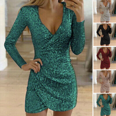 Damen Kleid Party Mini Bleistift Mode Kleid Enganliegend Abend Pailletten