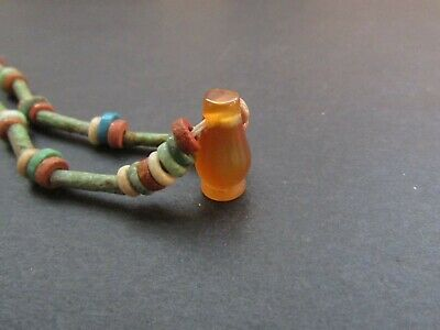 NILE  Ancient Egyptian Poppy Seed Amulet Mummy Bead Necklace ca 600 BC