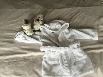Little White Company Dressing Gown And Slippers 6-12 Months