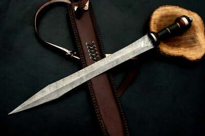 Damascus Steel Custom Hand Forged Viking Dolch Greek Double Edge Dagger Sword