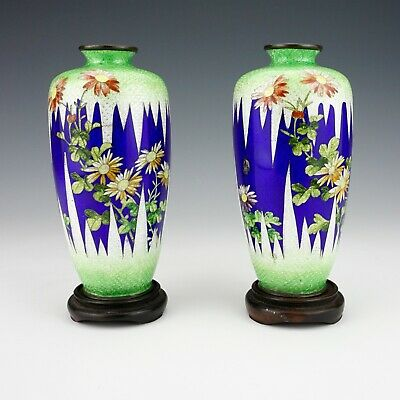 Antique Japanese Foil Ginbari Cloisonne - Pair Of Oriental Flower Vases & Stands