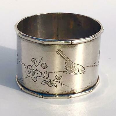 Lovely Antique Chinese Silver Tien Shing Bird On Branch Napkin Ring - Lot 17