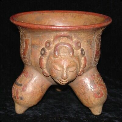 Real Mayan Potpourri Vase. Face Molded. Deeply Incised. With Dolphin Shaped Legs