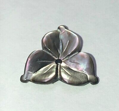 Gorgeous Iridescent Carved Smoky Pearl Shell Trillium Flower Button Trim