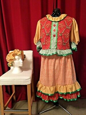 Pantomime Dame / Ugly Sister / Villager Costume. Size Large. 3 Piece Outfit.