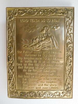 "Solid BRASS ""LORD TEACH US to PRAY"" wall hanging plaque Lord's Prayer vintage"