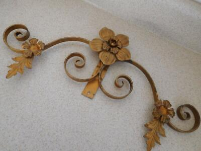 "METAL WALL DECORATION FLOWERS SWIRL Arms Gold painted surface vintage 18""x6"""