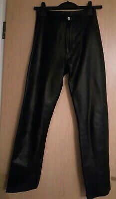 REAL Leather Mordex Ladies Trousers Black Size 10 vgc