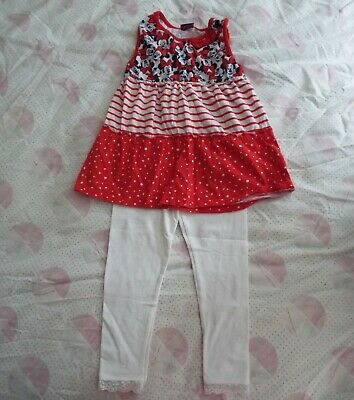 Minnie the Mouse Outfit. Red Top and White Leggings. Age 4-5 Years. George