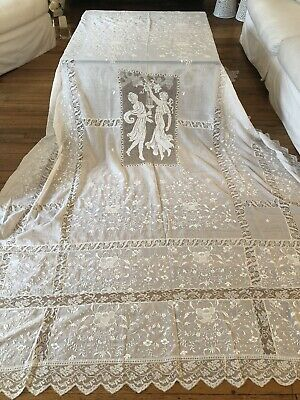 Antique Linens -Ornate Bedspread W/ Figurals In Classical Dress,Embroidery,Filet