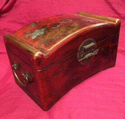 Reproduction Antique Oriental Style Lacquered Chest/CD Storage