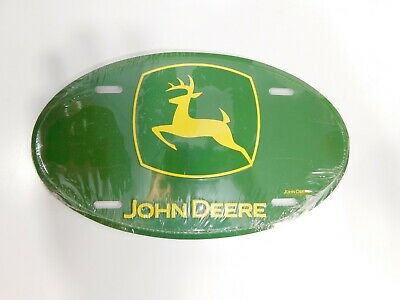 "Metal Embossed License Plate 6"" x 12"" John Deere Oval Shaped NEW SEALED"
